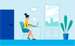 Kvinnaarbetet i kontoret Konstillustration vektor illustrationer