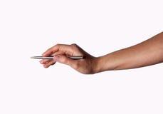 Kvinnaarmhandstil med den metalliska pennan Royaltyfri Fotografi