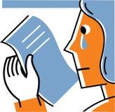Kvinnaavläsningsbokstav och gråt Stock Illustrationer