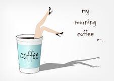 Kvinnaavverkning in i den pappers- koppen kaffe, modevektorillustration, Arkivfoton