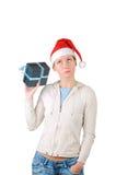 kvinnabarn för hatt s santa Arkivbild