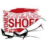 Kvinnaben i skor för höga häl för mode Illustration för popkonst royaltyfri illustrationer