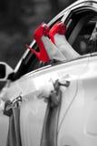 Kvinnaben med röda sexiga skor Royaltyfri Fotografi