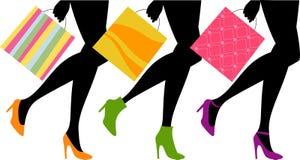 Kvinnaben med shoppingpåsen royaltyfri illustrationer