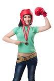 Kvinnaboxare Fotografering för Bildbyråer