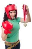 Kvinnaboxare Arkivfoto