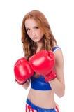 Kvinnaboxare i likformig Arkivfoto