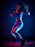 Kvinnaboxareboxning royaltyfria bilder