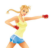 Kvinnaboxning Royaltyfria Foton