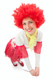 Kvinnaclown med rött hår Fotografering för Bildbyråer