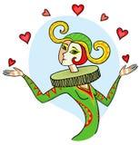 Kvinnaclown som jonglerar hjärtor Royaltyfria Bilder