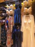 Kvinnadamunderkläder visade på en skyltdocka som var till salu i ett boutiquelager royaltyfri foto