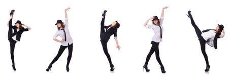 Kvinnadansaren som dansar moderna danser Arkivbild