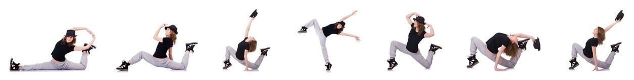 Kvinnadansaren som dansar moderna danser Arkivfoto
