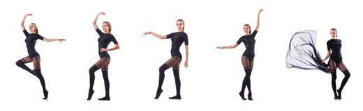 Kvinnadansen som isoleras på viten Royaltyfria Foton