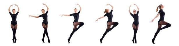 Kvinnadansen som isoleras på viten Royaltyfri Fotografi