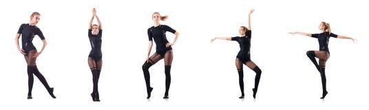 Kvinnadansen som isoleras på viten Royaltyfri Foto