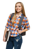 Kvinnadeltagareanseende med ryggsäckinnehavmappen fotografering för bildbyråer