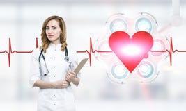 Kvinnadoktor, hjärta och rytm fotografering för bildbyråer