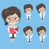 Kvinnadoktor i handlingen och lynnet i likformign vektor illustrationer