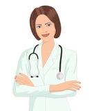 Kvinnadoktorsanseende med stetoskopet fotografering för bildbyråer