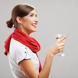 Kvinnadrink, vinexponeringsglas Le lycklig flicka Royaltyfria Foton