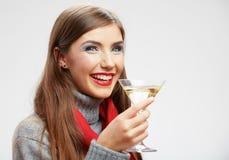 Kvinnadrink, vinexponeringsglas Le lycklig flicka Arkivbild