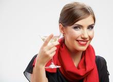 Kvinnadrink, vinexponeringsglas Le lycklig flicka Royaltyfri Foto