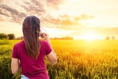Kvinnadrinkkaffe i guld- fält för ris arkivfoto