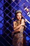 Kvinnadrottningprinsessan i kronan och luxklänningen, ljus festar backgr royaltyfri foto