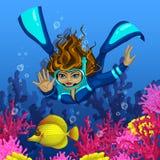 Kvinnadykaren dyker för gul tropisk fisk Mot bakgrunden av rosa korall Vektorillustration av den undervattens- världen och Co Arkivbild