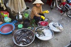 Kvinnaförsäljningar fiskar på gatamarknad på Februari 15, 2012 i min Tho, Vietnam Arkivbilder