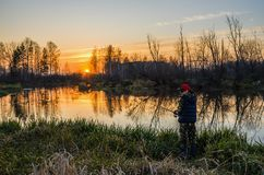Kvinnafiske på solnedgången Royaltyfri Foto