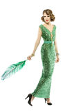 Kvinnafjäder i den retro paljettklänningen för mode, elegant lyxig dam Arkivfoton