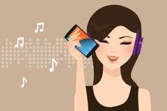 Kvinnaflickakvinnlig som lyssnar till musik som direktanslutet mindre strömmar med för huvuduppsättning för smart telefon bärande vektor illustrationer