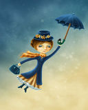 Kvinnaflyg med ett paraply stock illustrationer