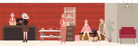 Kvinnafolket köp somskor i lager försöker shoppar in, gallerian stock illustrationer