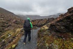 Kvinnafotvandrare med ryggsäcken som klampar på den Tongariro nationalparken arkivbilder