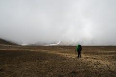Kvinnafotvandrare med ryggsäcken som klampar på den Tongariro nationalparken royaltyfri bild