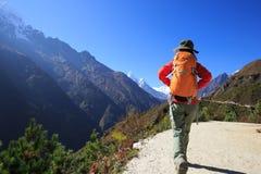 Kvinnafotvandrare som trekking på de himalaya bergen Arkivfoto