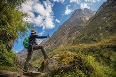 Kvinnafotvandraren med ryggsäckanseende på vagga tycker om bergsikten Annapurna, Nepal Arkivfoton