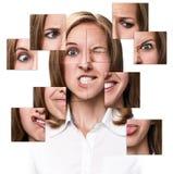 Kvinnaframsida som samlas från olika delar Arkivbild