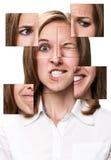 Kvinnaframsida som samlas från olika delar Royaltyfri Bild