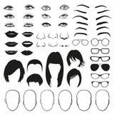Kvinnaframsidadelar, öga, exponeringsglas, kanter och hår vektor för set för tecknad filmhjärtor polar stock illustrationer