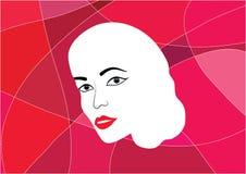 Kvinnaframsidaillustration på röd formad bakgrund arkivfoto