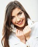 Kvinnaframsidaslut upp vit backround. Le flickaport Arkivfoton