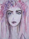 Kvinnaframsidastående abstrakt vattenfärg Arkivbilder