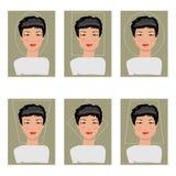 Kvinnaframsidatyper också vektor för coreldrawillustration Arkivbilder