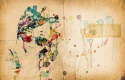kvinnaframsidavattenfärg Royaltyfria Foton