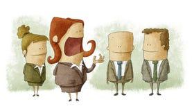 Kvinnaframstickande med anställda Vektor Illustrationer